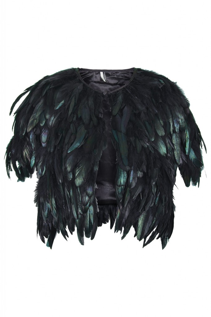 Shiny Feather Cape     Price: £110.00 click to visit Topshop