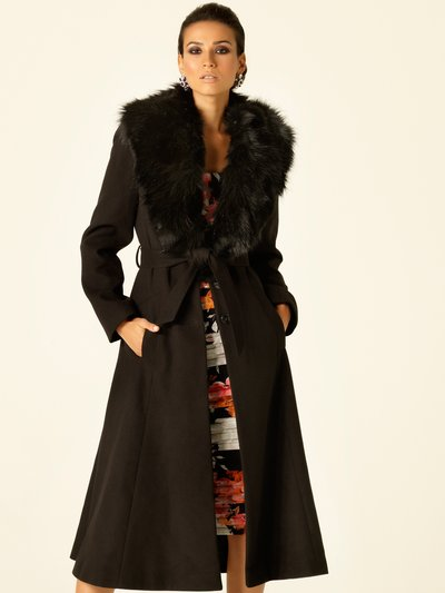 Faux fur fit and flare coat £99 click to visit M&Co