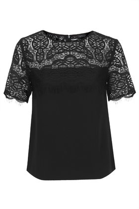 Lace Yoke Tee     Price: £38.00 click to visit Topshop