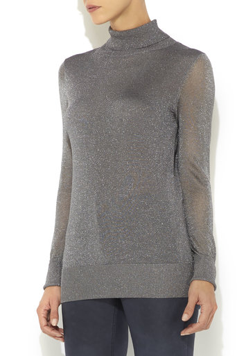 Silver Polo Neck Jumper Was £40.00 Now £32.00 click to visit Wallis