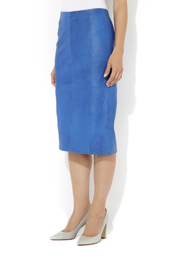 Blue Leather Pencil Skirt Was £95.00 Now £76.00 click to visit Wallis