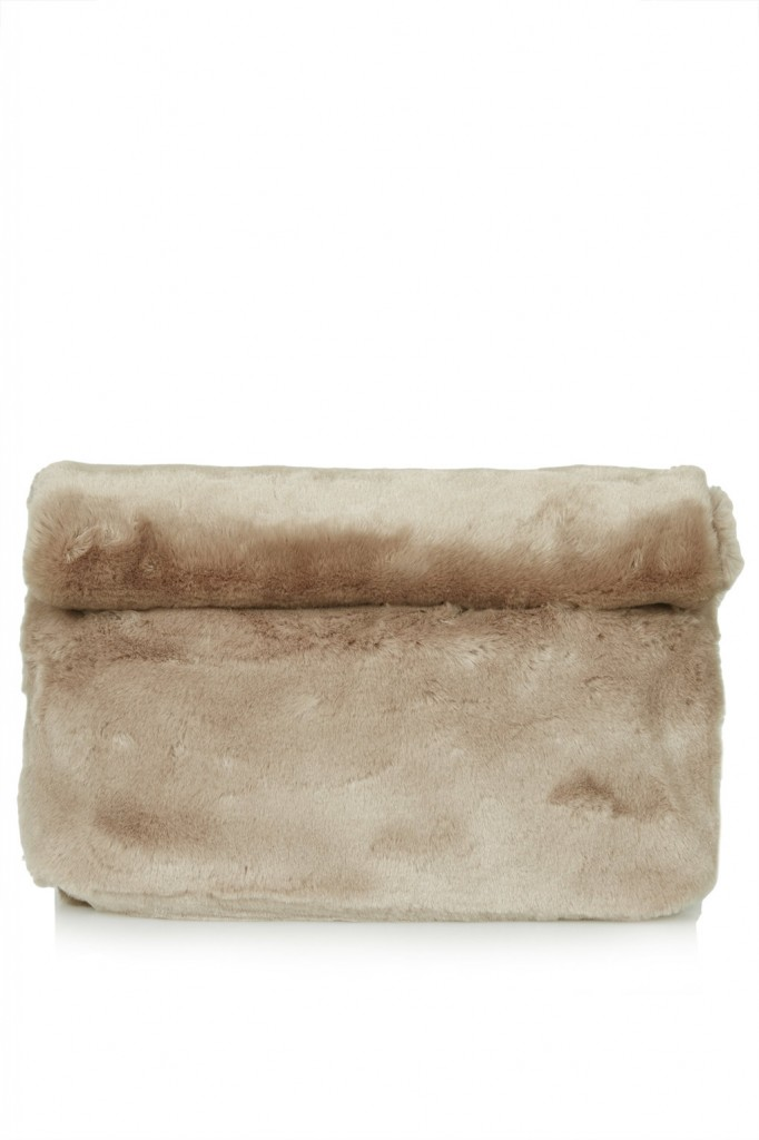 Faux Fur Roll-Top Clutch     Price: £32.00 click to visit Topshop