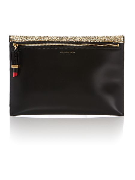 Lulu Guinness Naomi gold glitter clutch bag £225 click to visit House of Fraser