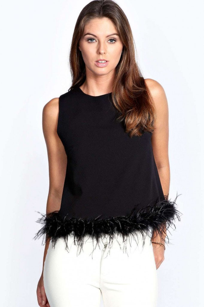 Rosanna Feather Trim Sleeveless Shell Top £18.00 click to visit Boohoo