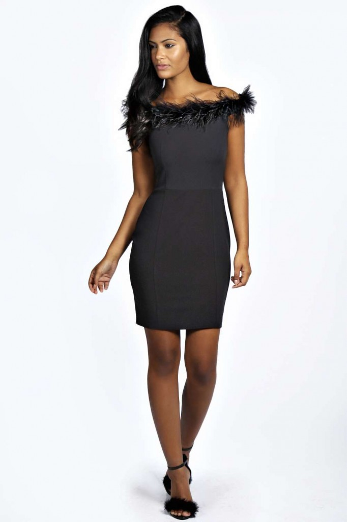 Kate Feather Shoulder Bodycon Dress £35.00 click to visit Boohoo