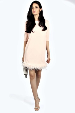 Lucinda Feather Trim Shift Dress £35 click to visit Boohoo