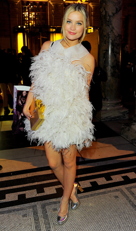 laura-whitmore-white-feather-dress-wgsn-global-fashion-awards-2013