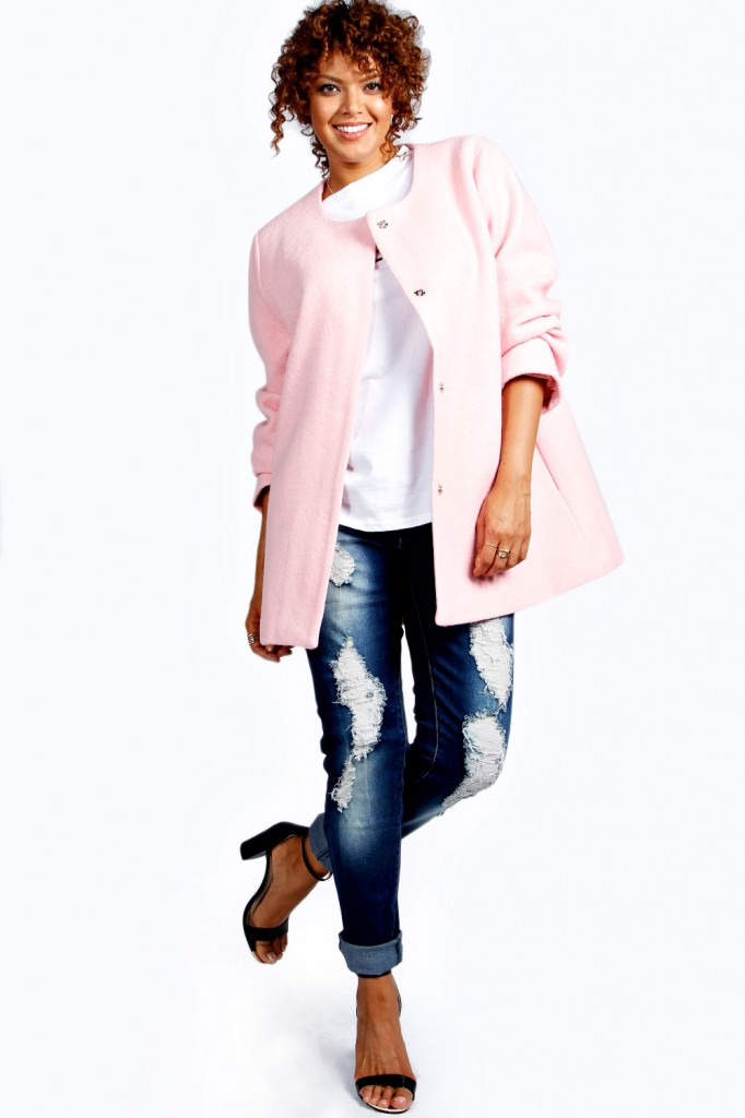 Beatrice Textured Wool Look Collarless Coat £50.00 click to visit Boohoo