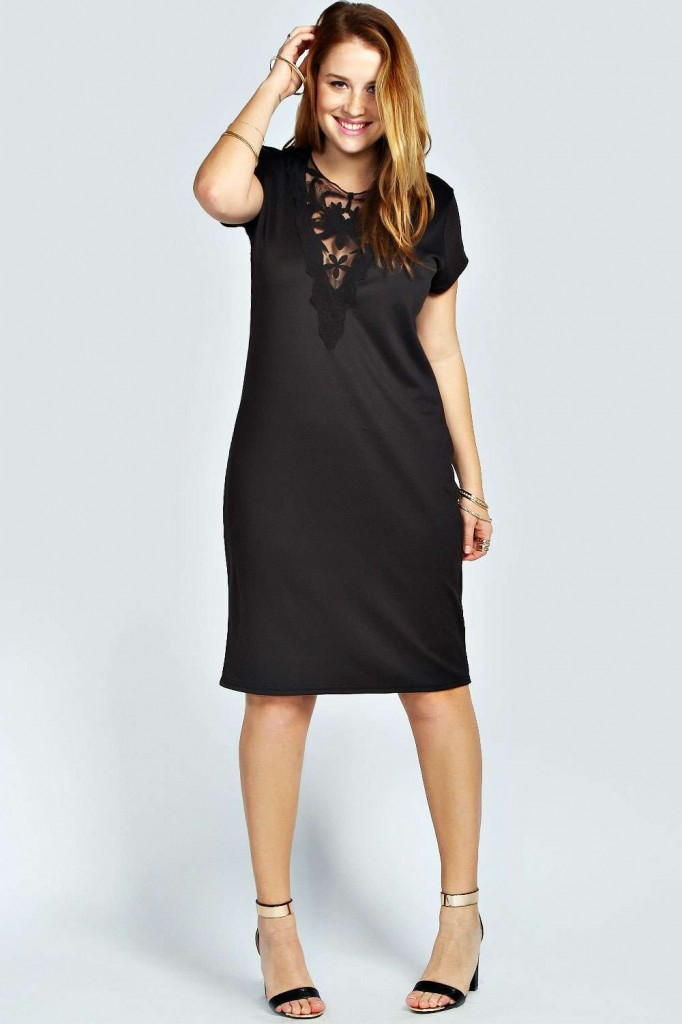 Charlotte Mesh Insert Cap Sleeve Dress now £12 click to visit Boohoo