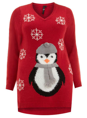 Evans Red Penguin Motif Jumper     Price: £35.00 click to visit Evans