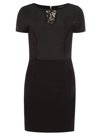 Black lace leather look ponte dress     Was £30.00     Now £21.00 click to visit Dorothy Perkins