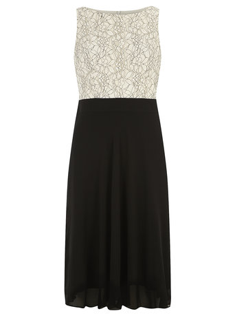 Black and white midi dress     Was £38.00     Now £34.20 click to visit Dorothy Perkins