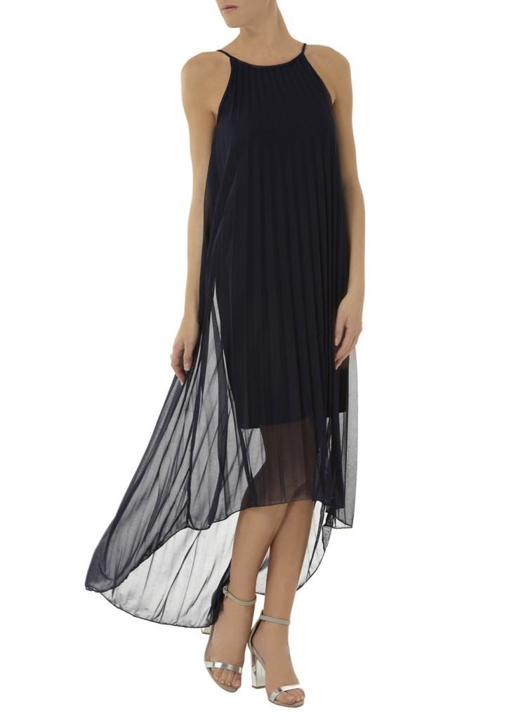 Navy pleated midi dress     Was £38.00     Now £26.60 click to visit Dorothy Perkins