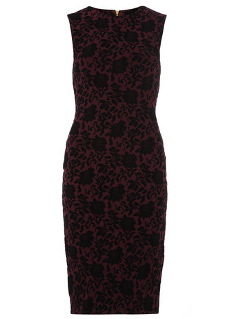 Wine Red flocked floral dress     Was £35.00     Now £28.00 click to visit Dorothy Perkins
