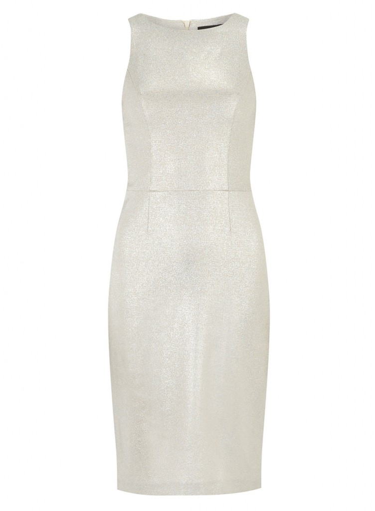 Silver shimmer pencil dress     Was £32.00     Now £25.60 click to visit Dorothy Perkins
