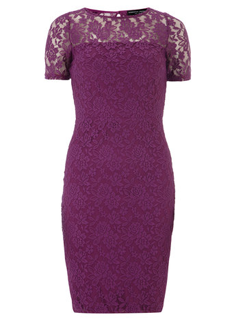 Pink sheer top pencil dress     Was £32.00     Now £25.60 click to visit Dorothy Perkins