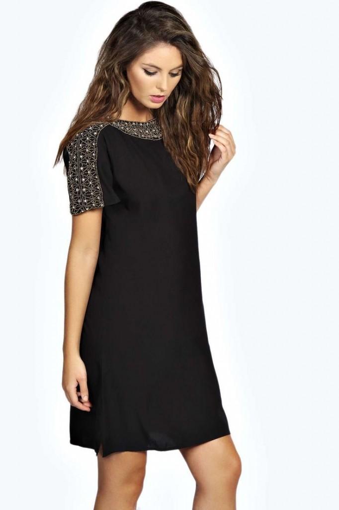 Elba Embellished Neckline Shift Dress £25 click to visit Boohoo