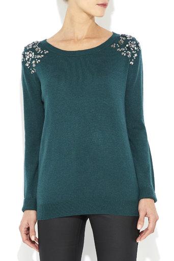 Green Embellished Shoulder Jumper     Was £40.00     Now £28.00 click to visit Wallis