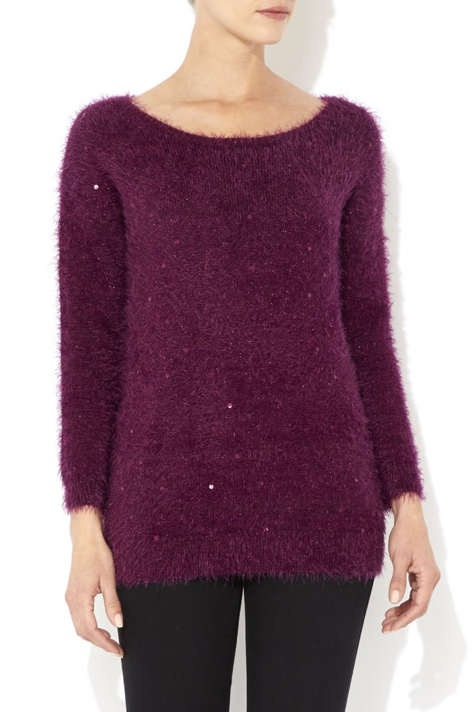 Berry Sequin Fluffy Jumper     Was £38.00     Now £26.60 click to visit Wallis