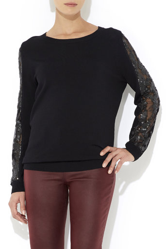 Black Sequin Sleeve Jumper     Was £50.00     Now £25.00 click to visit Wallis
