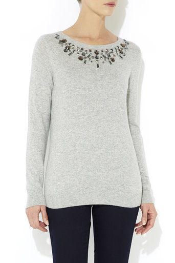 Grey Floral Necklace Jumper     Was £40.00     Now £28.00 click to visit Wallis