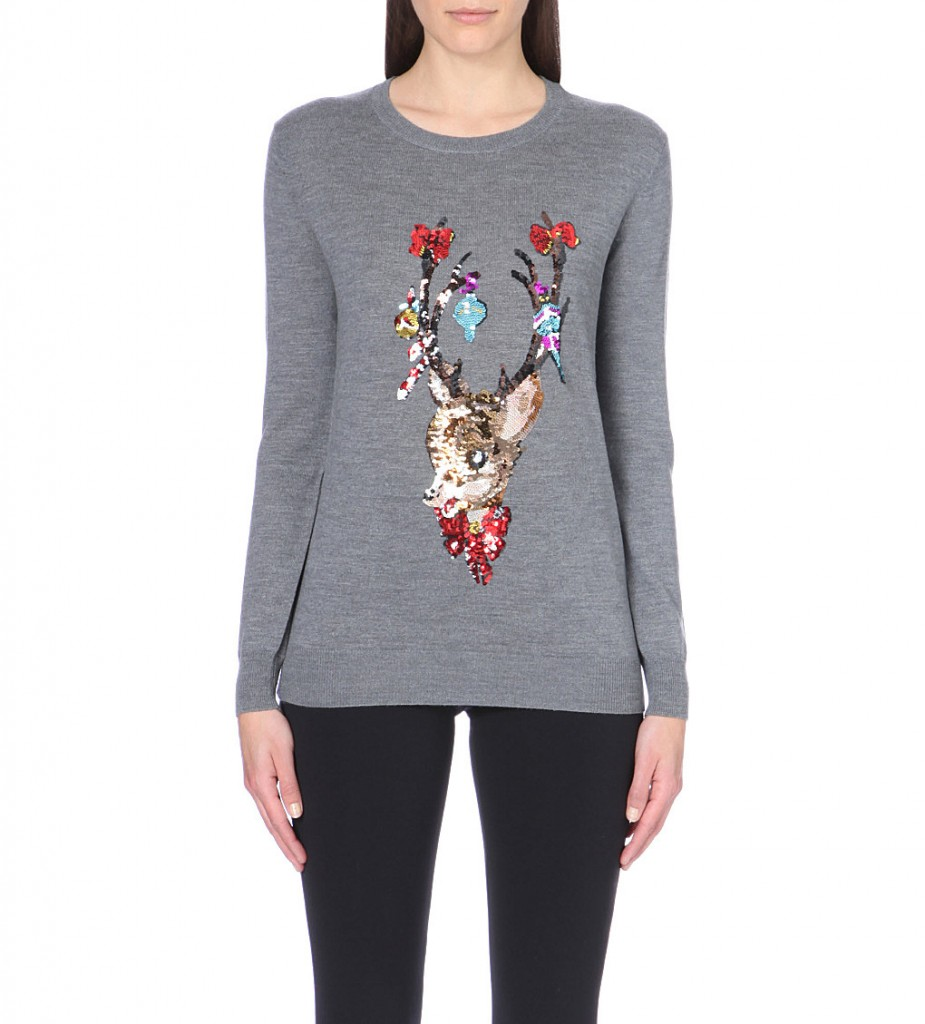 MARKUS LUPFER Reindeer sequin-embellished wool jumper £295 click to visit Selfridges