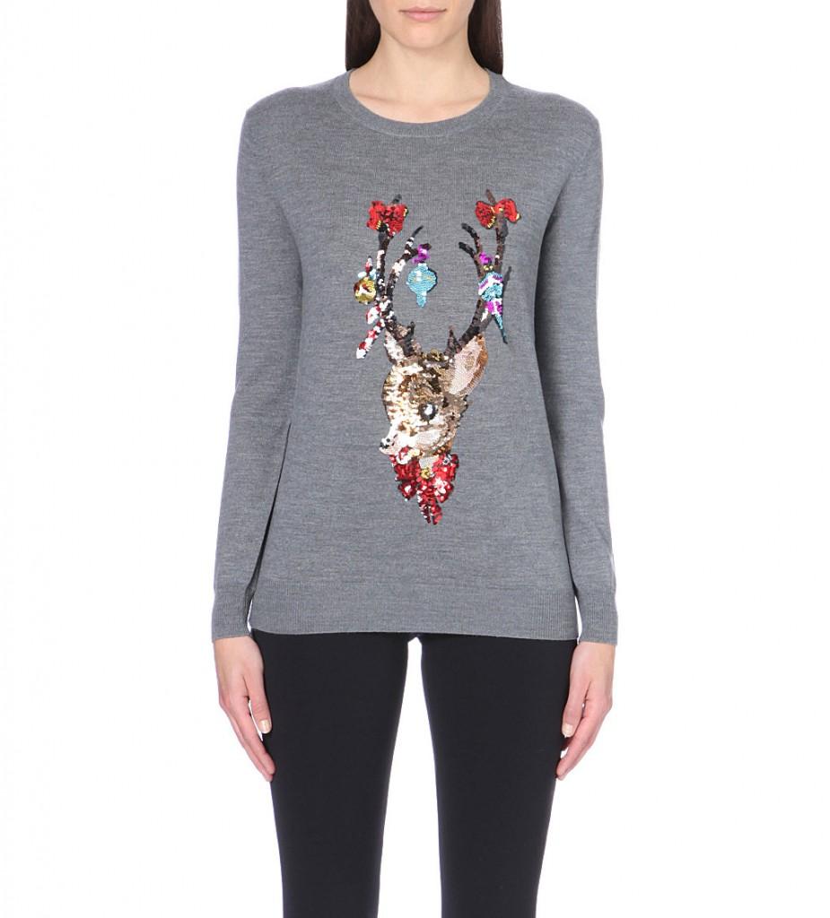 Ladies leather gloves selfridges - Markus Lupfer Reindeer Sequin Embellished Wool Jumper 295 Click To Visit Selfridges