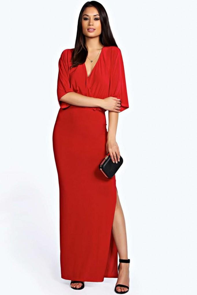 Eliza Wrap Front Batwing Maxi Dress £20 click to visit Boohoo