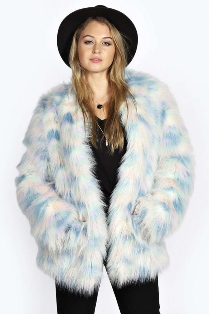 Katja Rainbow Pastel Faux Fur Coat £40 click to visit Boohoo