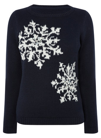 Navy Petite Snowflake Jumper     Price: £28.00 click to visit BHS