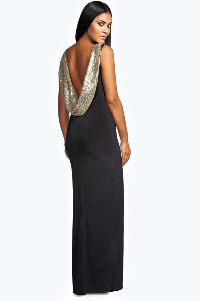 Lorien Sequin Cowl Back Maxi Dress £30 click to visit Boohoo