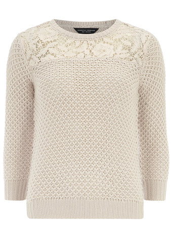 Pink knitted lace panel jumper     Price: £28.00 click to visit Dorothy Perkins