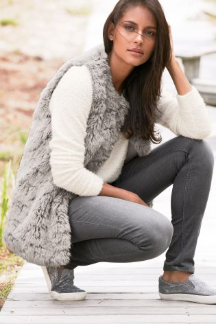 Grey Faux Fur Gilet £38 click to visit Next