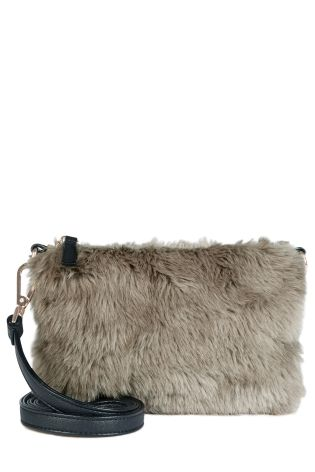 Mink Faux Fur Across-The-Body Bag £20 click to visit Next
