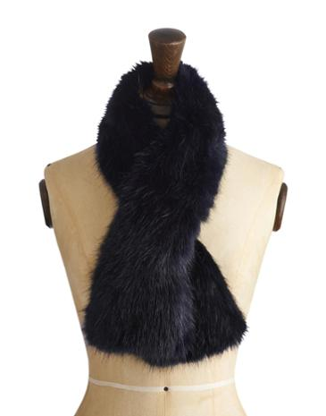 Womens Luxury Faux Fur Scarf, Midnight Blue Was £34.95 Now £17.45 click to visit Joules