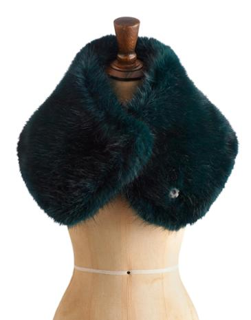 Womens Large Fur Shrug, Emerald Was £49.95 Now £29.95  click to visit Joules