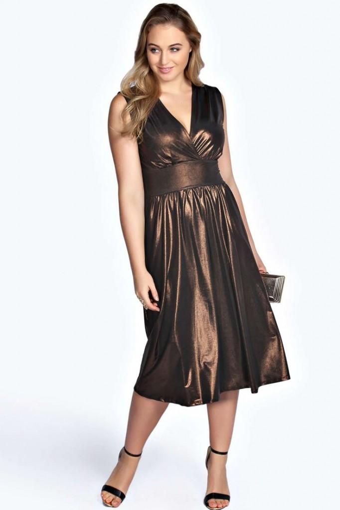 Vicky Metallic Plunge Neck Midi Dress £22 click to visit Boohoo