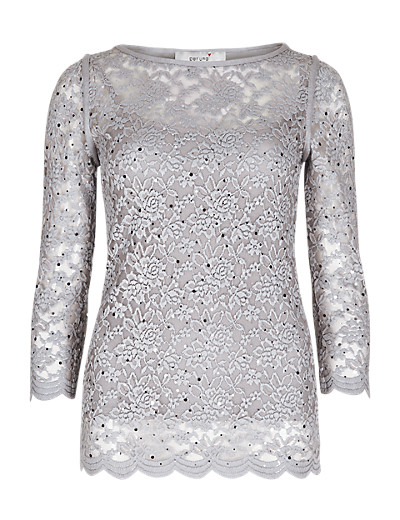 PER UNA New Sparkle Lace Top with Camisole T625880I     £32.50 click to visit Marks and Spencer