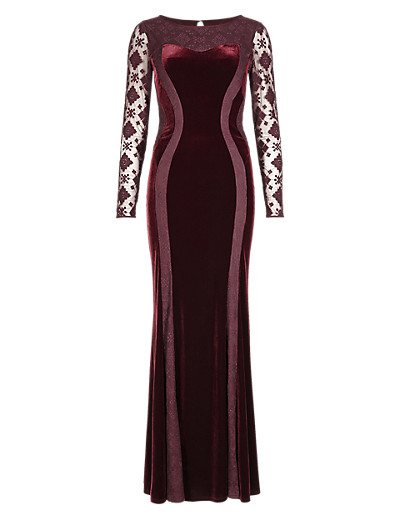 M&S COLLECTION Embroidered Mesh & Velour Panelled Bodycon Maxi Dress T424048     £89.00 click to visit Marks and Spencer