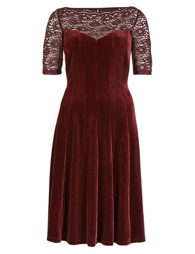 M&S COLLECTION New Lace Yoke Velour Skater Dress ONLINE ONLY T425048E     £49.50 click to visit Marks and Spencer
