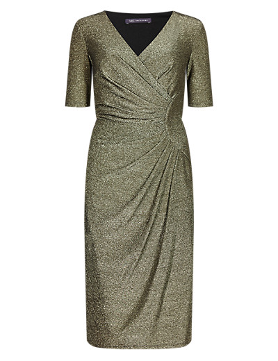 M&S COLLECTION Glitter Drape Front Shift Dress T425083     £49.50 click to visit Marks and Spencer