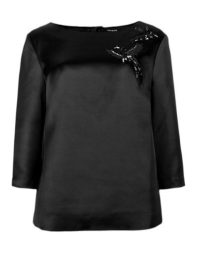 AUTOGRAPH New Sequin Embellished Bird Top T504495     £49.50 Click to visit Marks and Spencer