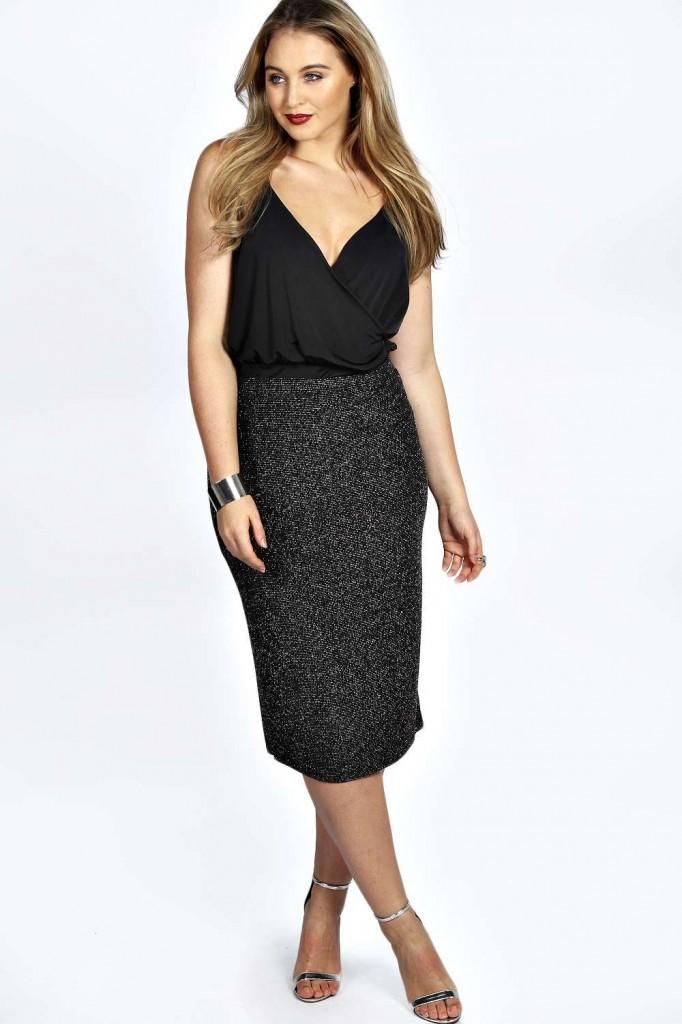 Alice Shimmer Midi Skirt £15 click to visit Boohoo