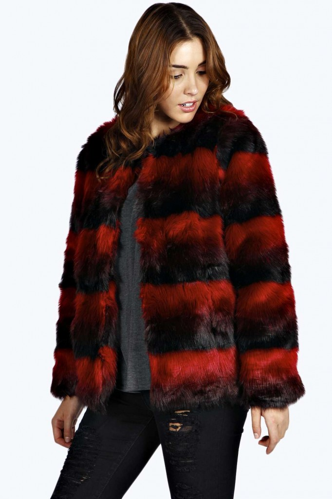 Josephina Striped Faux Fur Coat £40 click to visit Boohoo