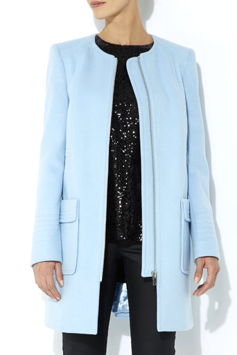 Blue Collarless Coat     Was £65.00     Now £45.50 click to visit Wallis