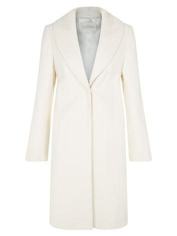 Ivory Shawl Collar Coat now £149 click to visit Kaliko