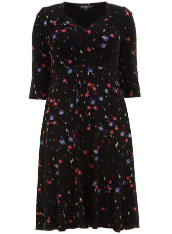 Scarlett & Jo Black Spot and Floral Jersey Dress     Was £45.00     Now £30.00 click to visit Evans
