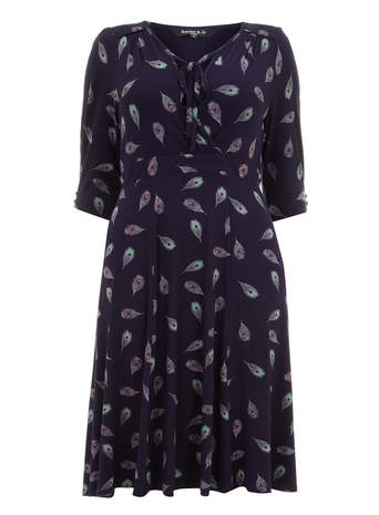Scarlett & Jo Purple Feather Print Jersey Dress     Price: £45.00 click to visit Evans