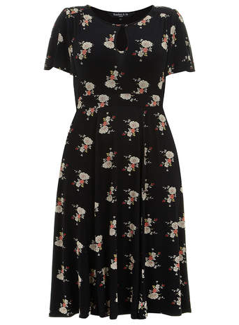 Scarlett & Jo Black Floral Jersey Dress     Price: £45.00 click to visit Evans
