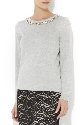 Petite Grey Pearl Jumper     Was £35.00     Now £26.25 click to visit Wallis